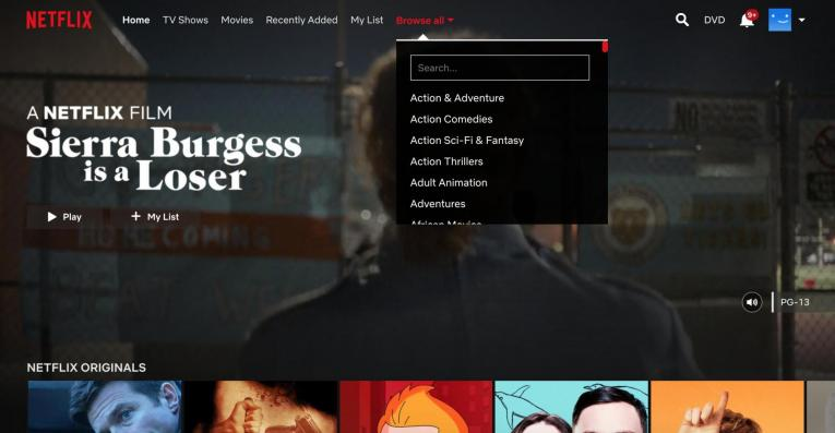 Netflix browse all menu